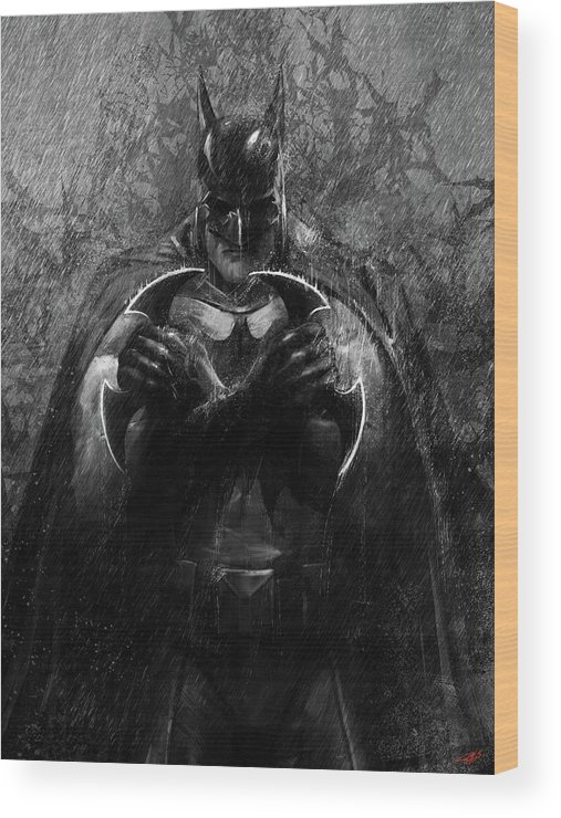 Dark Knight Wood Print featuring the digital art The Detective by Steve Goad