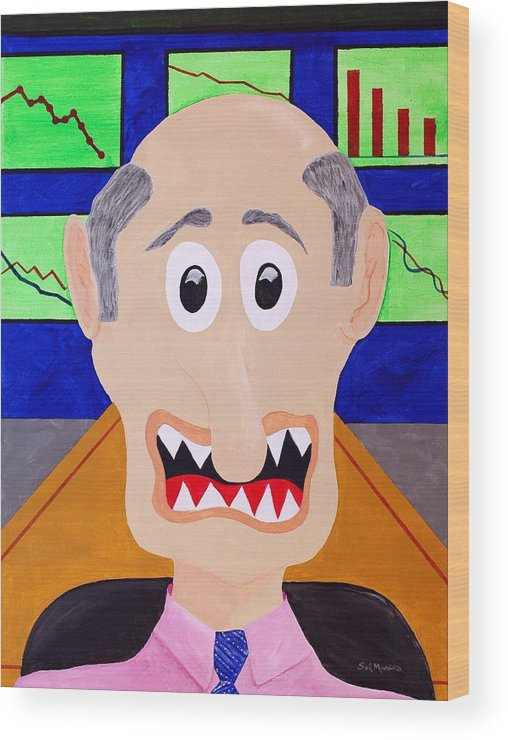 Financial Wood Print featuring the painting Trader by Sal Marino