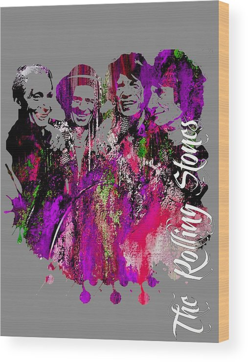 Mick Jagger Wood Print featuring the mixed media The Rolling Stones Collection by Marvin Blaine