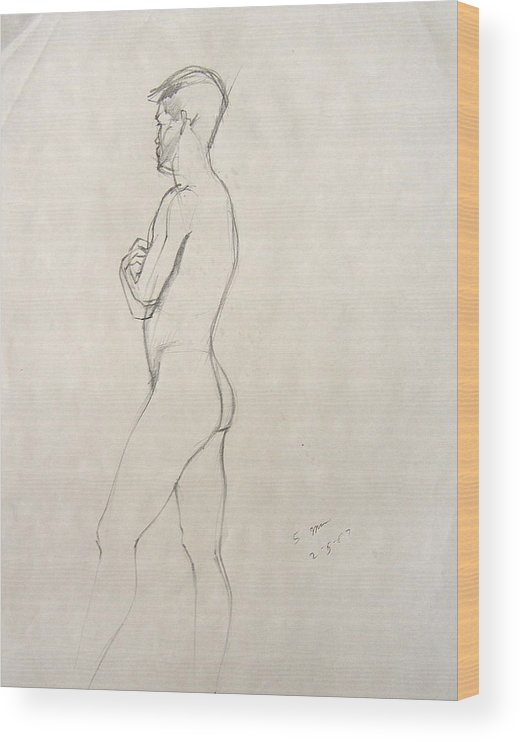Figure Composition With Live Model Wood Print featuring the drawing Untitled 3 by Howard Stroman