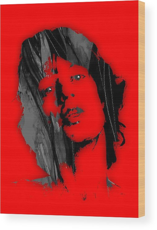 Mick Jagger Wood Print featuring the mixed media Mick Jagger Collection by Marvin Blaine