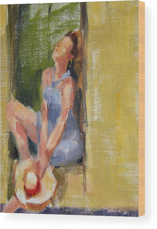 Figurative Wood Print featuring the painting A Moment in the Sun by Merle Keller