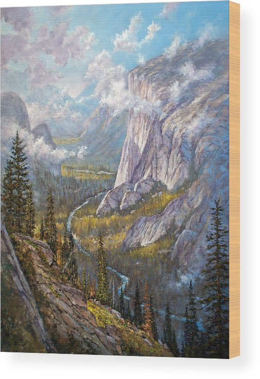 Yosemite Wood Print featuring the painting Above El Capitan by Donald Neff