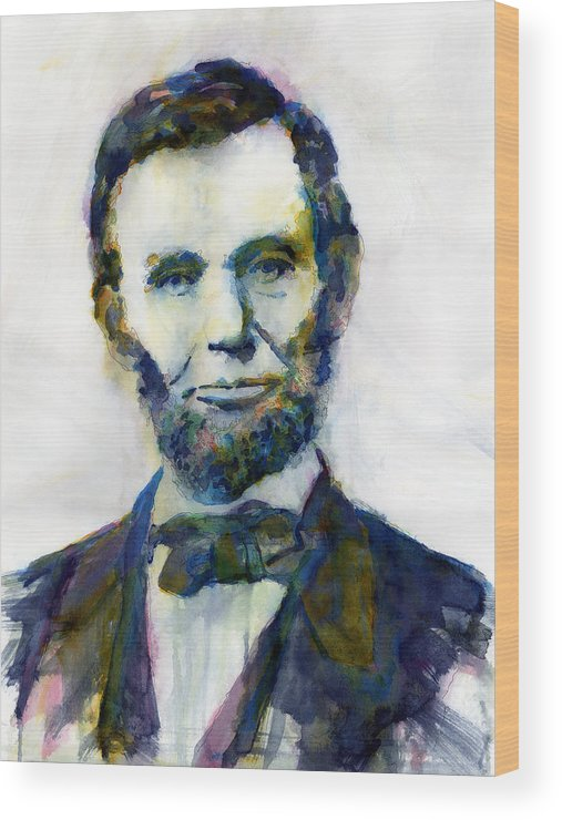 Abraham Wood Print featuring the painting Abraham Lincoln Portrait Study 2 by Hailey E Herrera