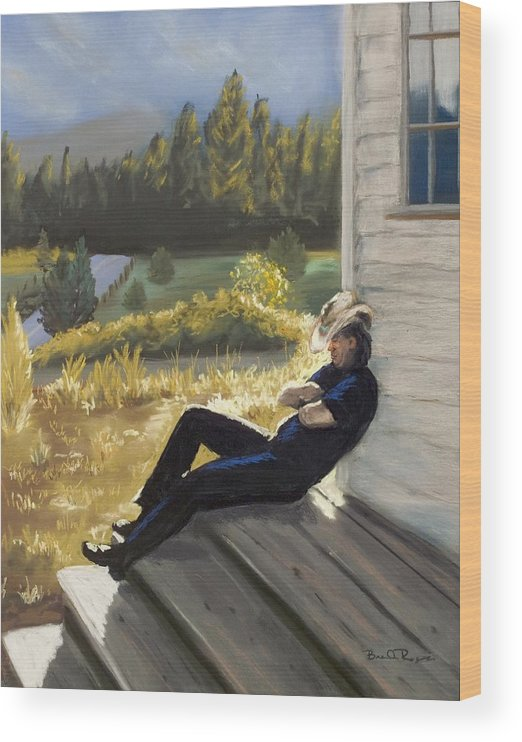 Cowboy Wood Print featuring the painting Afternoon Tranquility by Brenda Williams