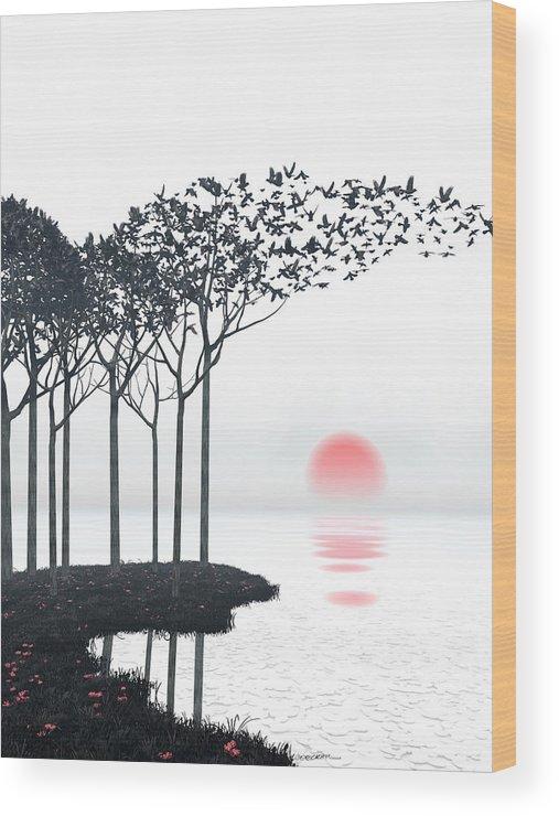 Landscape Wood Print featuring the digital art Aki by Cynthia Decker