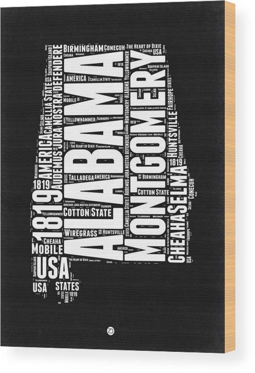 Alabama Wood Print featuring the digital art Alabama Word Cloud Black and White Map by Naxart Studio