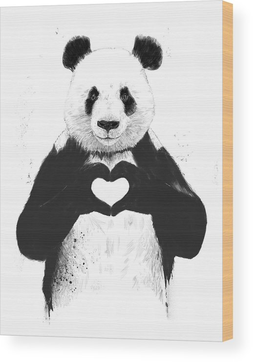 Panda Wood Print featuring the painting All you need is love by Balazs Solti