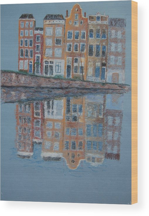 Pastel Wood Print featuring the painting Amsterdam by Marina Garrison