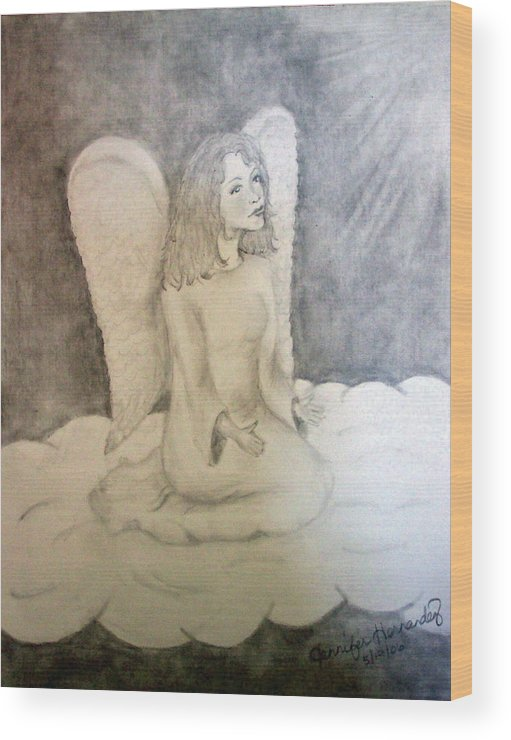 Angel Wood Print featuring the drawing Angel by Jennifer Hernandez