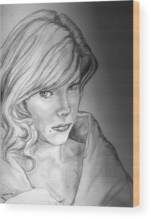 Anne Francis Wood Print featuring the drawing Anne Francis by Bryan Bustard