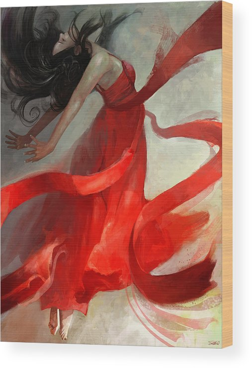 Dancer Wood Print featuring the painting Ascension by Steve Goad