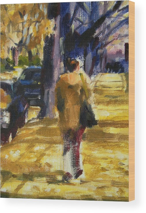 New York Wood Print featuring the painting Autumn in New York by Merle Keller