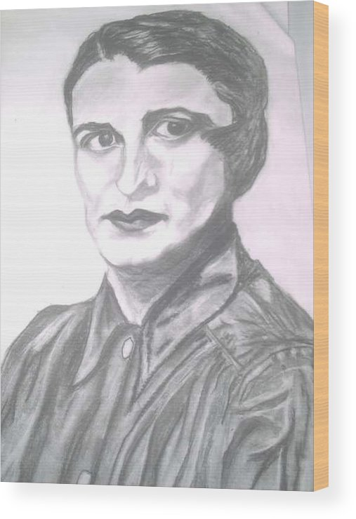 Ayn Rand Wood Print featuring the painting Ayn Rand by Nancy Caccioppo
