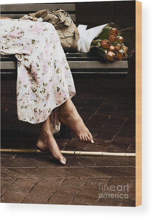 Barefeet Feet Barefoot Tulips Wood Print featuring the photograph Barefoot and tulips by Sheila Smart Fine Art Photography