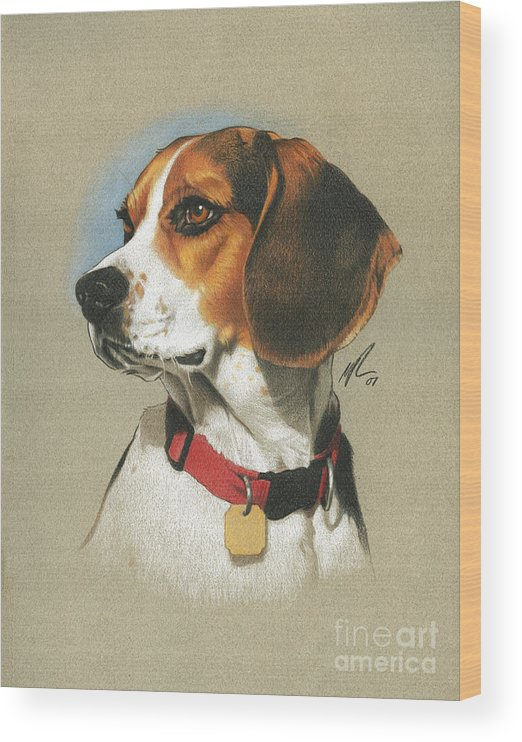 Pet Wood Print featuring the painting Beagle by Marshall Robinson