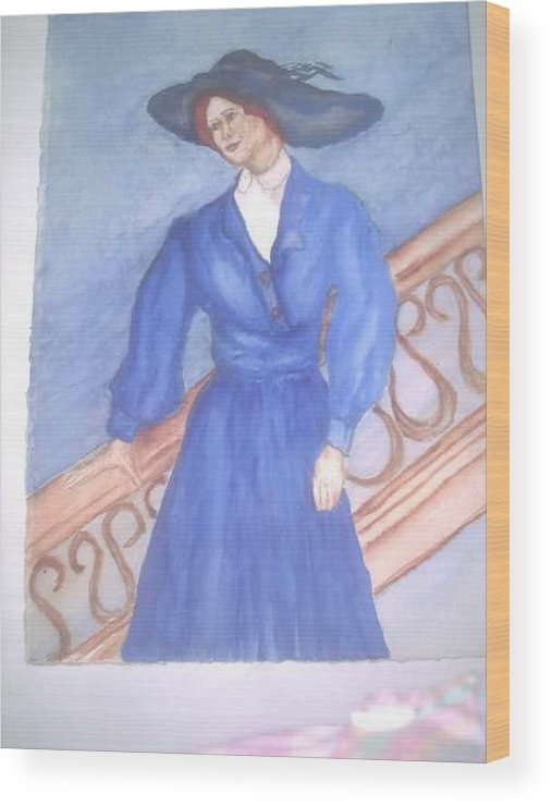 Image Caught My Imagination Wood Print featuring the painting Blue Lady by Nancy Caccioppo