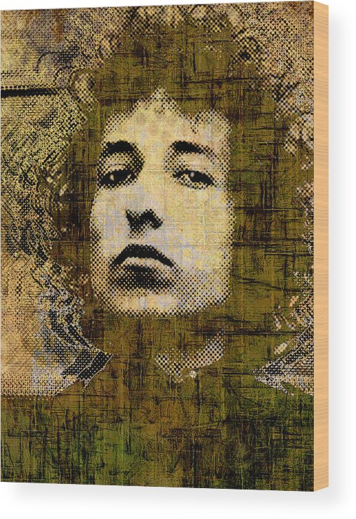 Bob Dylan Wood Print featuring the painting Bob Dylan 1 Vertical by Tony Rubino