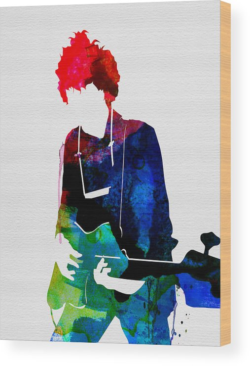 Bob Dylan Wood Print featuring the painting Bob Watercolor by Naxart Studio