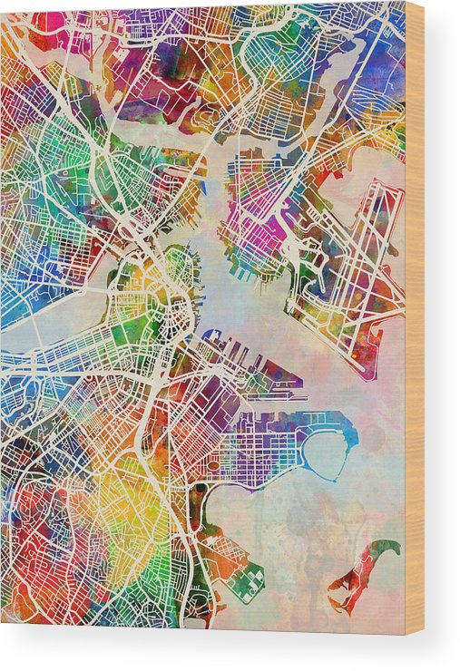 Street Map Wood Print featuring the digital art Boston Massachusetts Street Map by Michael Tompsett