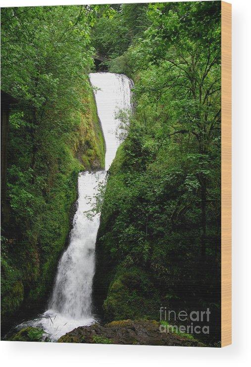 Waterfall Wood Print featuring the photograph Bridal Veil Falls by PJ Cloud
