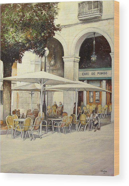 Cafe Wood Print featuring the painting Cafe de Pombo-Santander by Tomas Castano