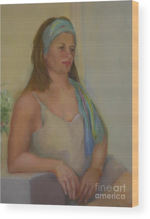Impressionist Portrait Wood Print featuring the painting Cami in Blue             copyrighted by Kathleen Hoekstra