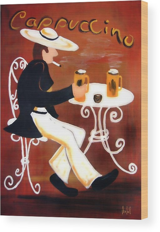 Cappuccino Wood Print featuring the painting Cappuccino by Helmut Rottler