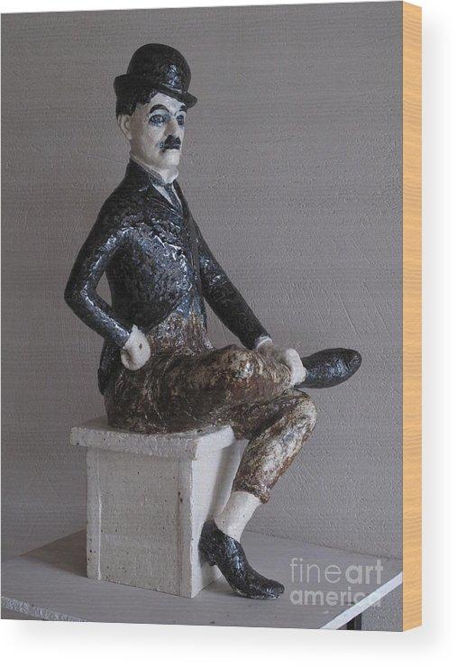Charlie Chaplin Wood Print featuring the sculpture Charlie Chaplin by Raimonda Jatkeviciute-Kasparaviciene