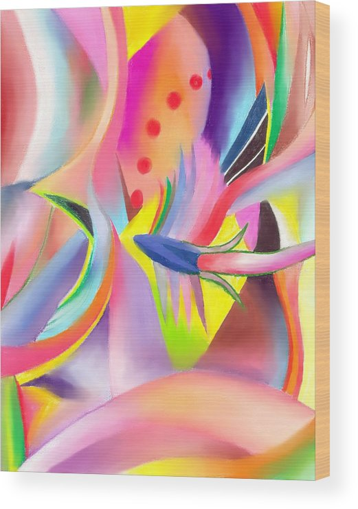 Colorful Wood Print featuring the drawing Colorful Sea by Peter Shor