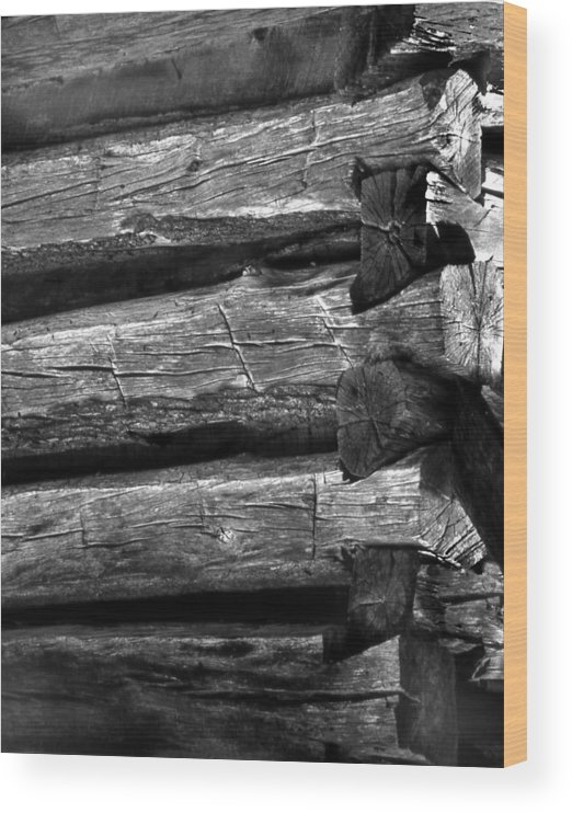 Ansel Adams Wood Print featuring the photograph Corner-logs by Curtis J Neeley Jr