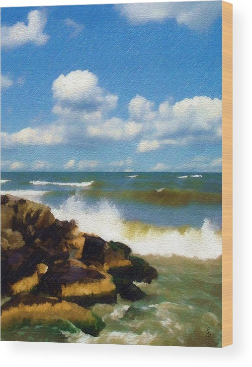 Seascape Wood Print featuring the photograph Crashing Into Shore by Sandy MacGowan