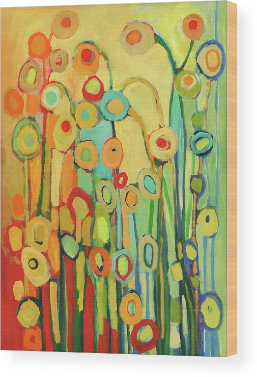 Floral Wood Print featuring the painting Dance of the Flower Pods by Jennifer Lommers
