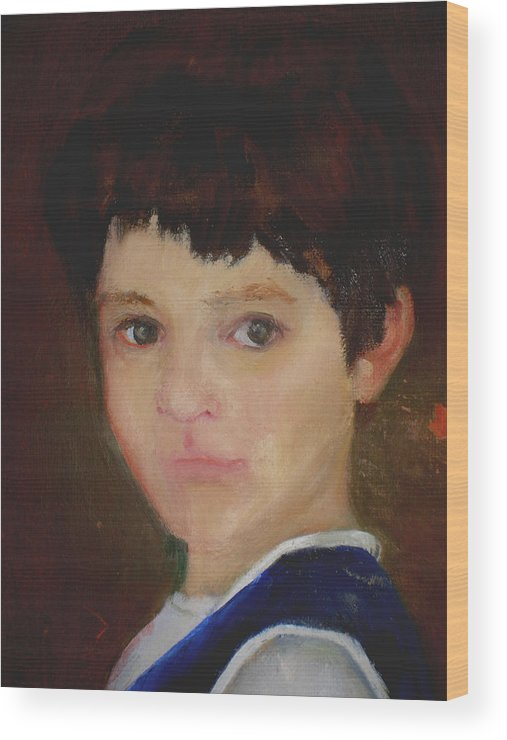 Child Portrait Wood Print featuring the painting David  copyrighted by Kathleen Hoekstra