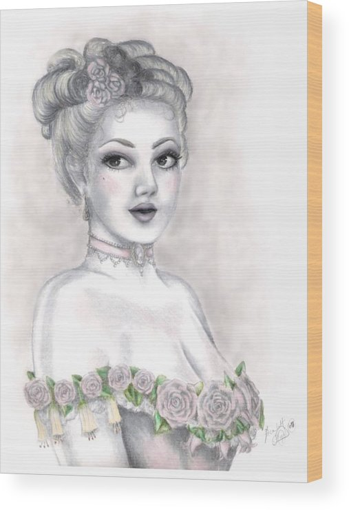 Portrait Wood Print featuring the drawing Delicate Beauty by Scarlett Royal
