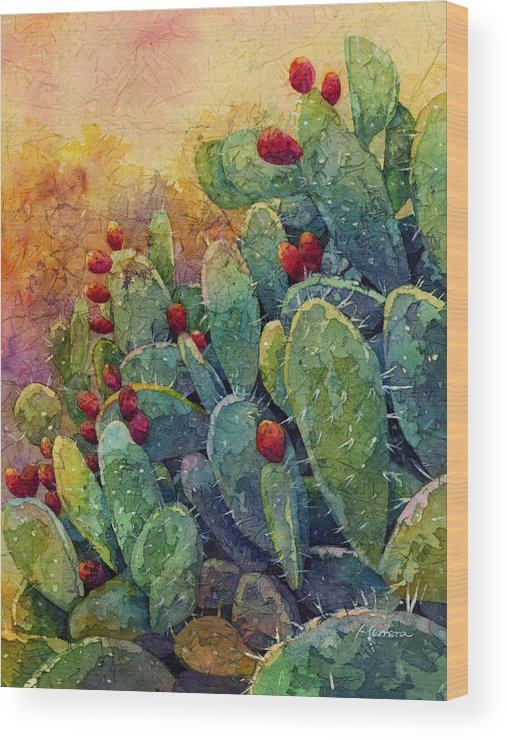 Cactus Wood Print featuring the painting Desert Gems 2 by Hailey E Herrera