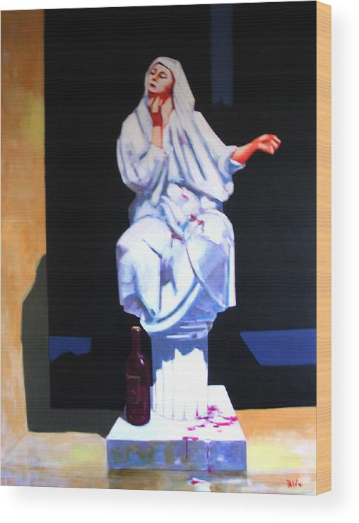 Figure Wood Print featuring the painting Drunken Magdalena by Ihab Bishai