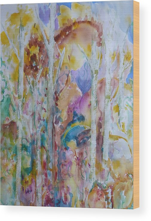 Vibrant Abstract Wood Print featuring the painting Earth Changes and so do I by Phoenix Simpson