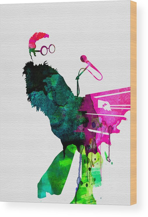 Elton Wood Print featuring the painting Elton Watercolor by Naxart Studio