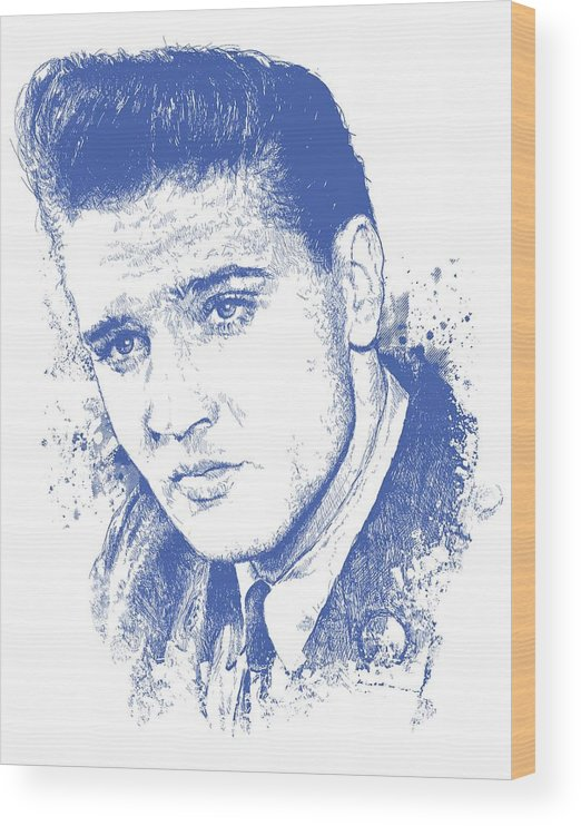 Chadlonius Wood Print featuring the digital art Elvis Presley Portrait by Chad Lonius