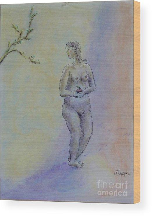Woman Wood Print featuring the pastel Eve by Ushangi Kumelashvili