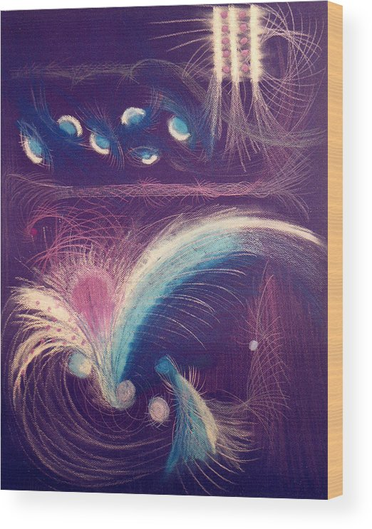 Abstract Wood Print featuring the mixed media Fireworks by Steve Karol
