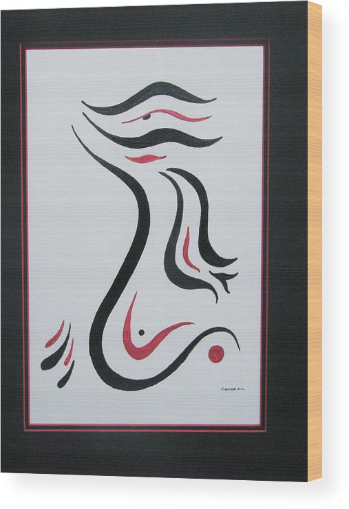 Abstract Free Form Wood Print featuring the painting Flight To Freedom II by Craig Lechman
