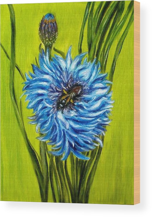 Floral Wood Print featuring the painting Flower and Bee oil painting by Natalja Picugina