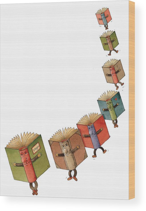 Books Flying Literature Readind Wood Print featuring the painting Flying Books02 by Kestutis Kasparavicius