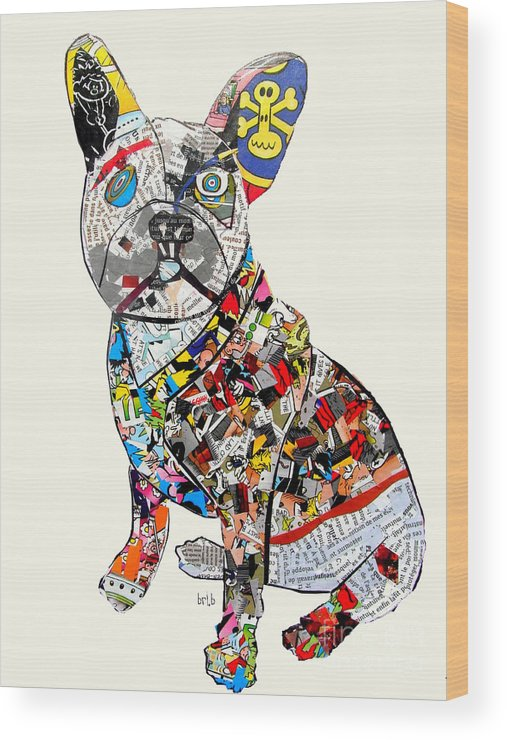 French Bulldog Wood Print featuring the painting French Bulldog by Bri Buckley