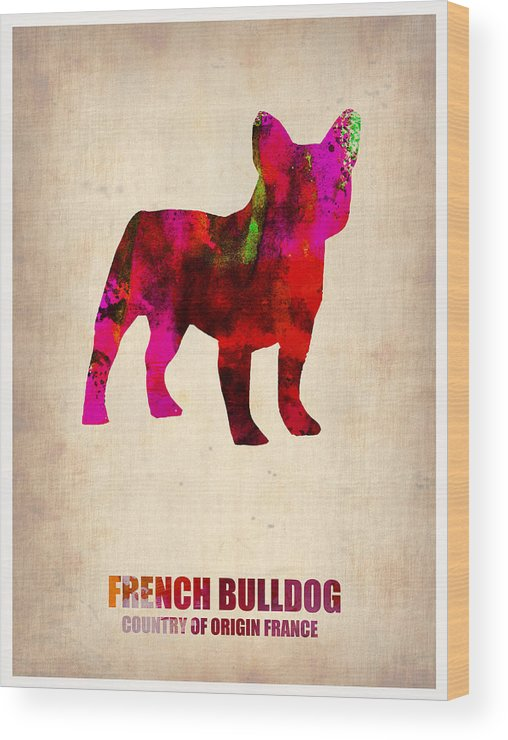 French Bulldog Wood Print featuring the painting French Bulldog Poster by Naxart Studio
