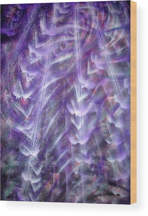 Light Rays Wood Print featuring the painting Fromabove by Leigh Odom