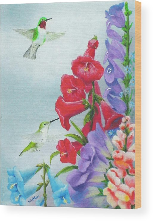 Birds Wood Print featuring the painting Garden Beauties by Merle Blair