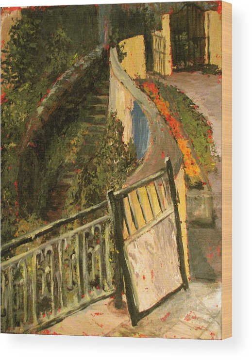 Gate Wood Print featuring the painting Gated Community by Art Nomad Sandra Hansen